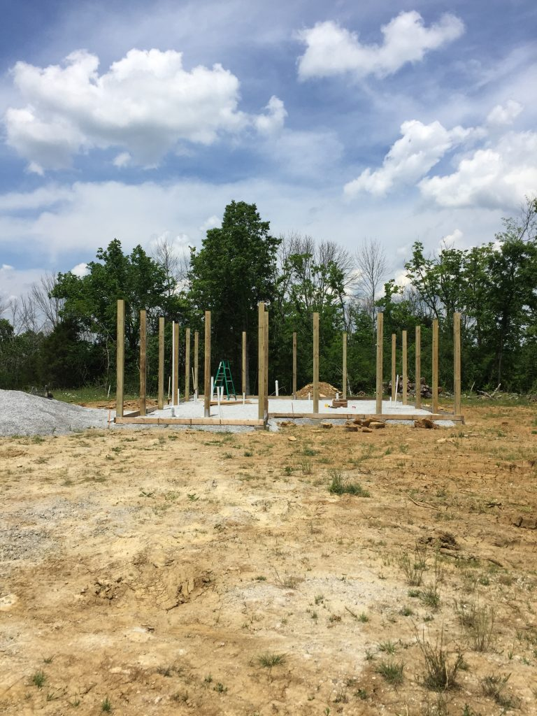 Posts in place on our DIY pole frame for a cordwood house