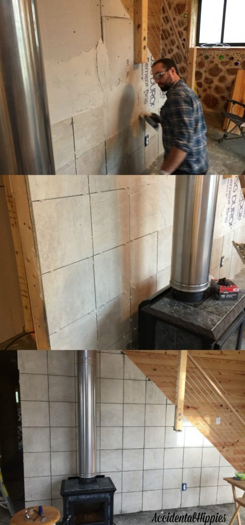 Tiling a wall is an easy DIY project. We completed this and other projects as part of our home build this month. Check out our progress reports for more!
