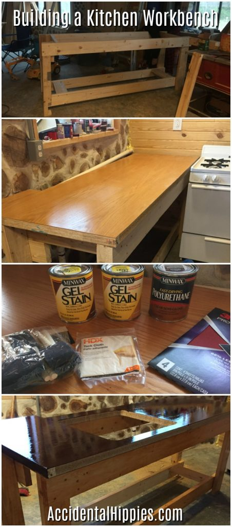 We built an easy and inexpensive workbench for our kitchen instead of using base cabinets.