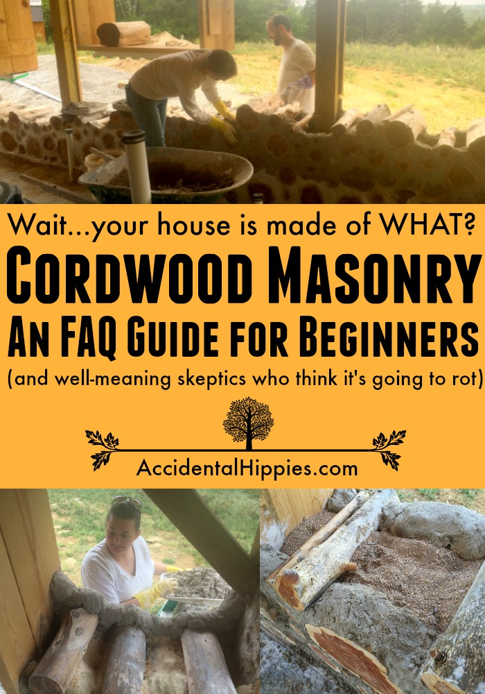 What is cordwood masonry? How do you build with cordwood? Is it drafty, and is it going to rot? This FAQ primer will guide you through the basics of building with cordwood. #cordwood #homesteading #naturalbuilding