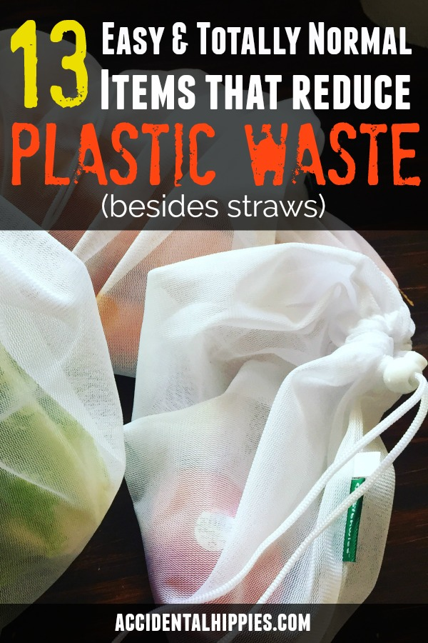 Creating less waste and reducing plastic is great, but how do you start? These 13 items are totally normal and easy ways to reduce waste besides just ditching straws. #zerowaste #reduceplastic #wastefree #reusableitems #reusablebags #plasticalternatives