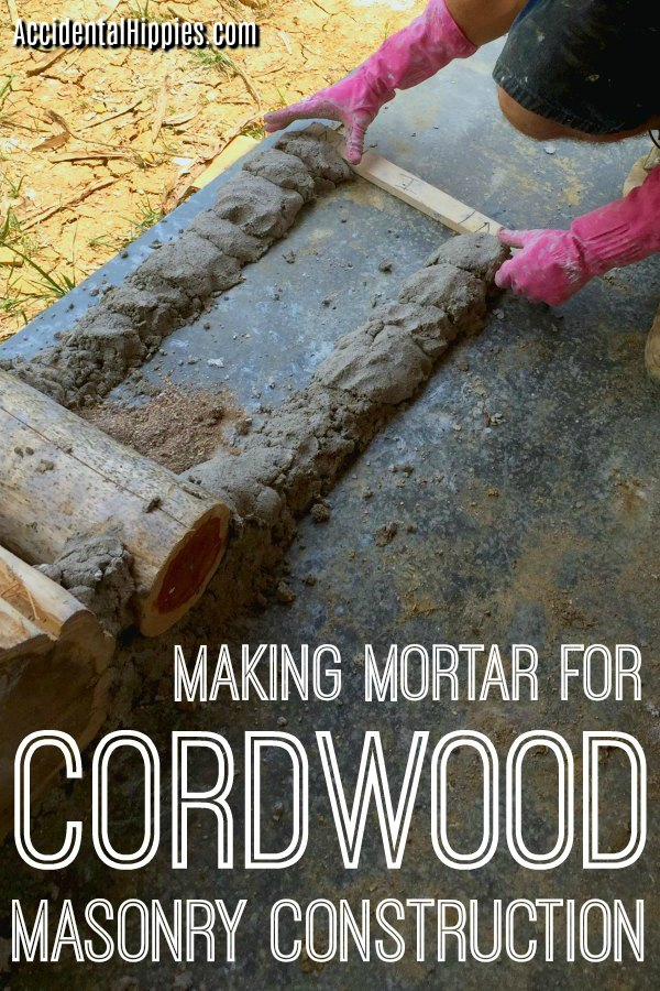 There are many mortar options for cordwood masonry, but a few key points that will make or break your mix. Here's how we made ours and what we learned to help you choose the best mortar mix for your cordwood construction project. #cordwoodmasonry #naturalbuilding #diyconstruction