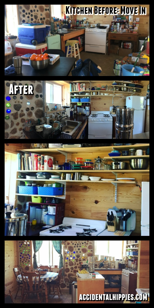 The kitchen in our cordwood house BEFORE and AFTER. #cordwoodhouse #offgridkitchen