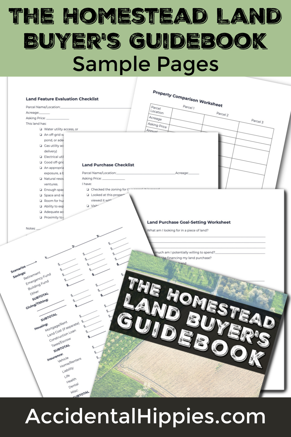 Image featuring sample sheets from The Homestead Land Buyer's Guide