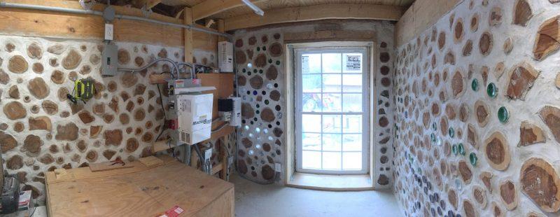 Panorama of cordwood shed interior